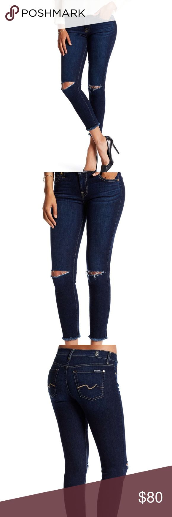 NWOT!! 7 for all mankind jeans ! Brand new! Never worn! 7 for all mankind jeans! Ankle gwenevere jeans! Size 27! Zip fly, with button closure. 5 pocket construction. Slit distressed knee, raw hem cuffs, ankle leg. 7 For All Mankind Jeans Ankle & Cropped