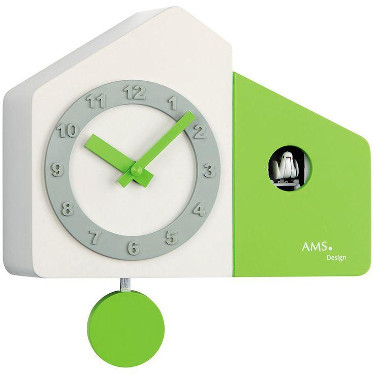 AMS 7395 Wanduhr Kuckucksuhr Quarz Pendel, Holzgehäuse weiß und grün lackiert