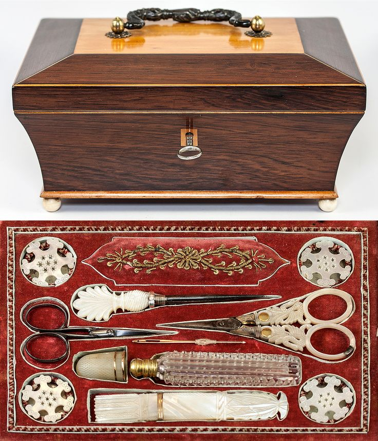 Antique French Palais Royal Sewing Box, Mother of Pearl Scissors, Needle Case, Etc., Etc., VERY Fine, 18k Gold Trim
