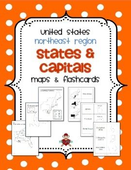 FREE US Northeast Region States & Capitals Maps & Flashcards.  UPDATED 2/16/2014! Includes 3 maps (labeled, blank with & without word bank) for the Northeast Region (Connecticut, Delaware, Maine, Maryland, Massachusetts, New Hampshire, New Jersey, New York, Pennsylvania, Rhode Island, and Vermont) of the United States and 3 sets of flashcards to study states and/or capitals (state shaded in region / state name, state name and outline / capital, state outline / state name and capital). $