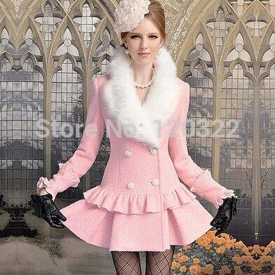 Бренд осень и зима приталенный элегантный винтажный мех воротник длинная розовый шерсть пальто куртка для женщины