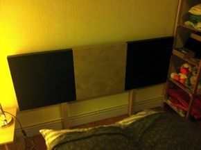 Ikea Hack, head board made from Lack tables, mending plates, wood screws, some self-adhesive felt