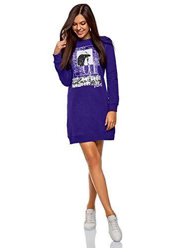 oodji Ultra Femme Robe de Sport avec Imprimé Bleu FR 34   XXS ... b49d1d99ce1