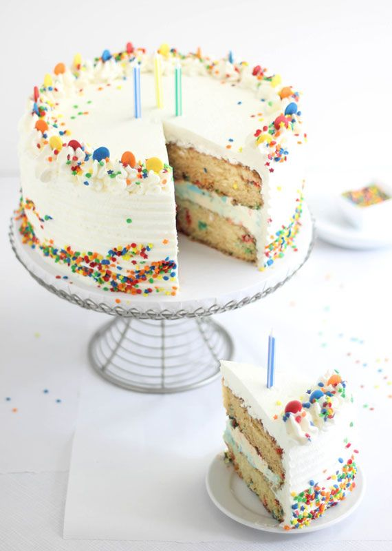 Confetti Ice Cream Birthday Cake by blog.etsy.com: Party read with rainbow sprinkles, this cake is easy and economical to make at home and fun to customize with your favorite flavor of ice cream. #Cake #Birthday #Ice_Cream #Confetti