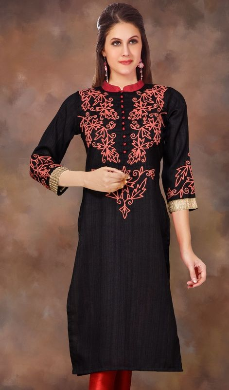 Stand Collar Kurti Designs : Black raw silk straight cut cord embroidered kurti tops