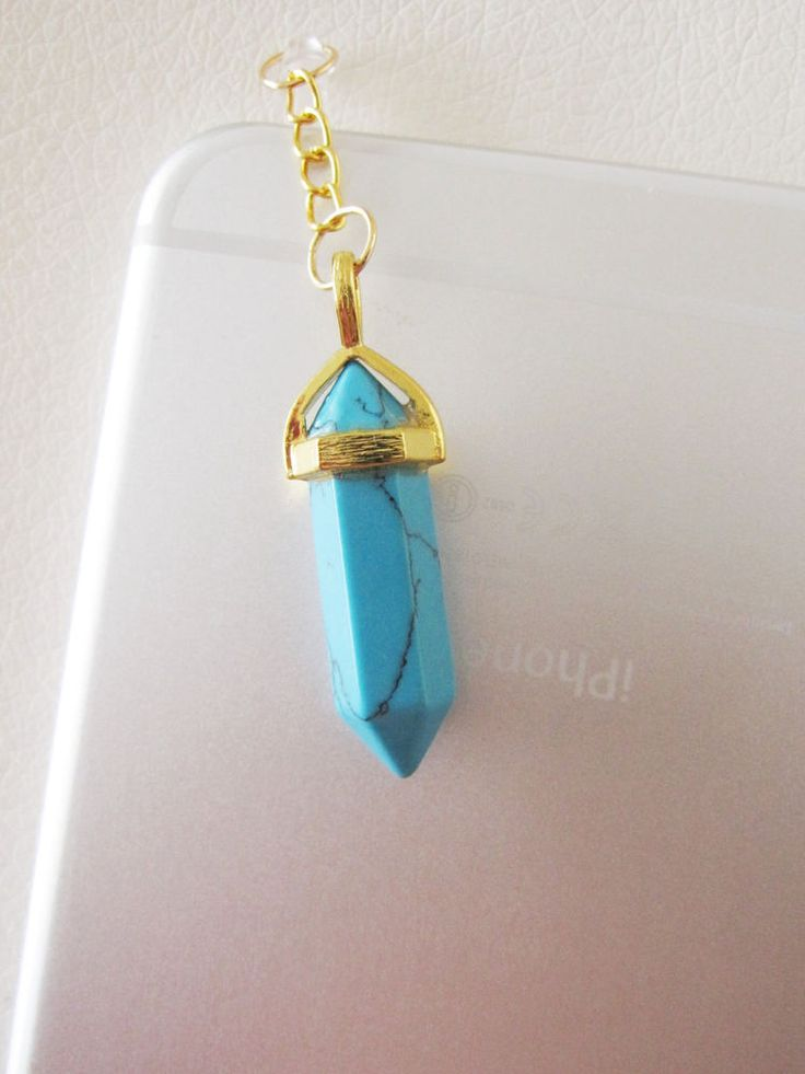 Turquoise stone quartz crystal dust plug charm iphone 6 6S HEALTH reiki phone charm