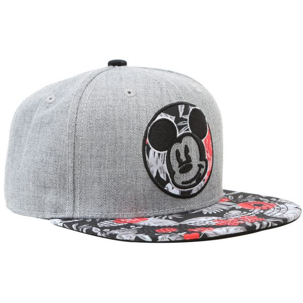 Disney Mickey Mouse Floral Snapback Hat ($15) ❤ liked on Polyvore featuring accessories, hats, multi, disney hats, floral print snapback, print snapback, snapback hats and embroidered snapbacks