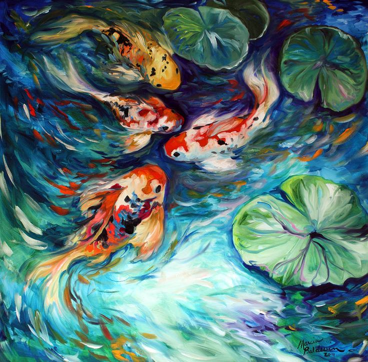 koi prints | Koi Painting by Marcia Baldwin - Dancing Colors Koi Fine Art Prints ...