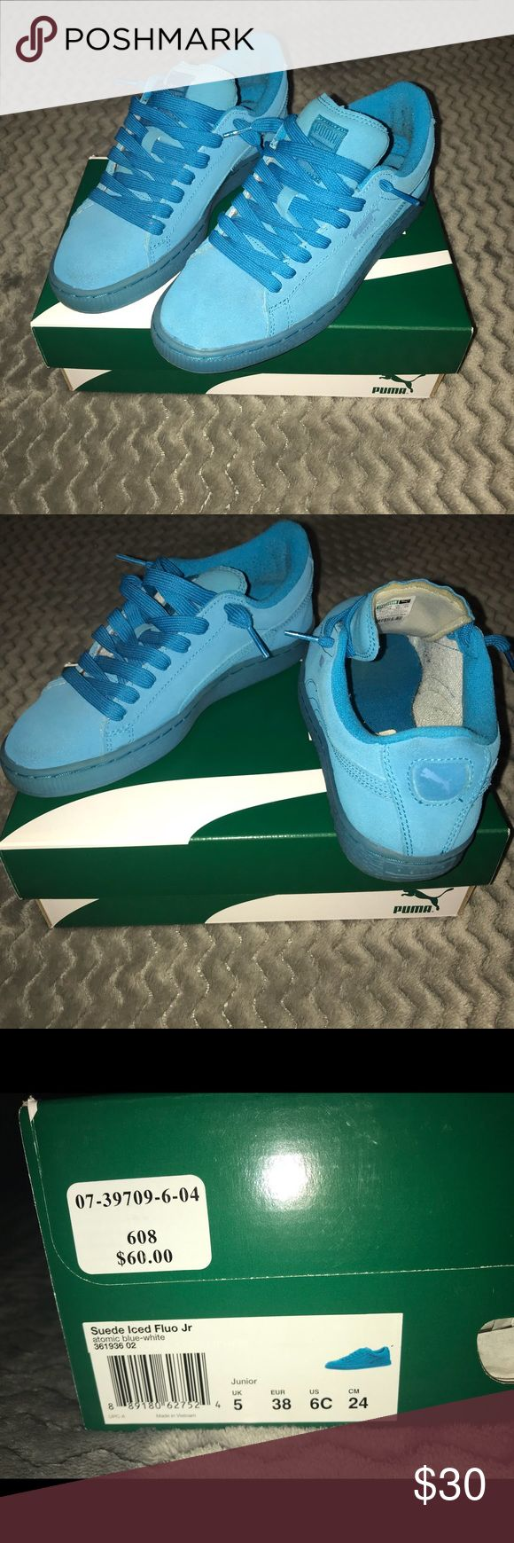 Blue Puma Suede's❄️💙. 📍 These Pumas are in a Junior size!  📍Good condition. 📍no harsh creasing. 📍still have the box they came in. 📍If you need me to put on hold for you I will but after a week I won't hold it.  ‼️If anyone has any additional questions ask me and I'll get back to you asap‼️🙂. Puma Shoes Sneakers