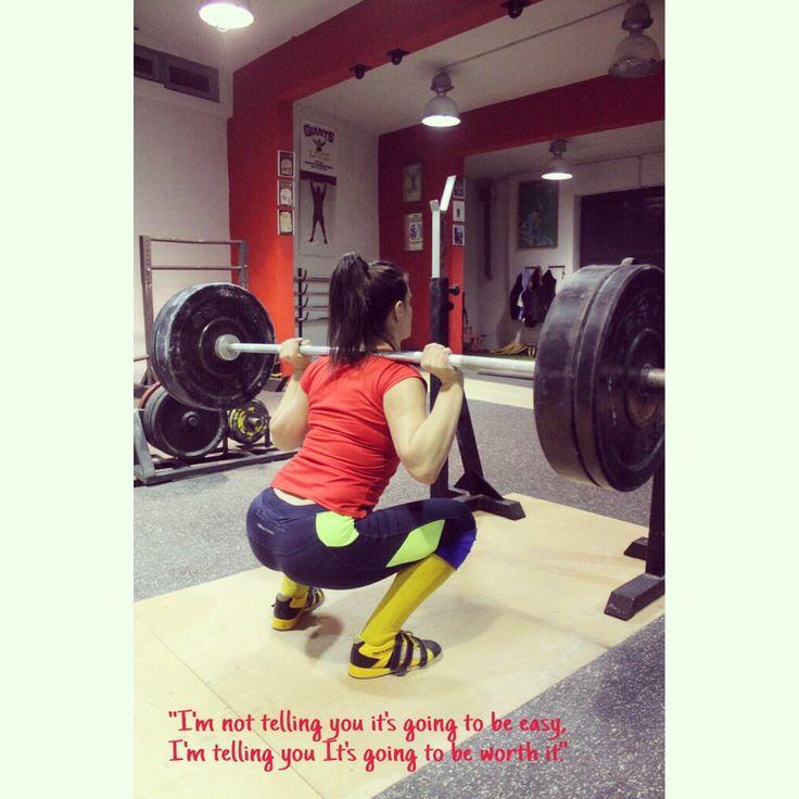 """I'm not telling you it's going to be easy, I'm telling you it's going to be worth it."" #weightlifting #motivation #crossfitgirls #fitnessquotes #fitnessmotivation #quotes #squat #girlswholift #girlsthatsquat #flexbase #Strongissexy"