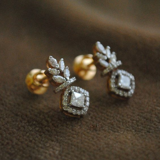 Forbidden Fruit, 0.45 Ct Princess, 0.75 Ct Marquise Halo Diamond, 14K Gold Stud Earring – FREE Shipping by AbhikaJewels on Etsy