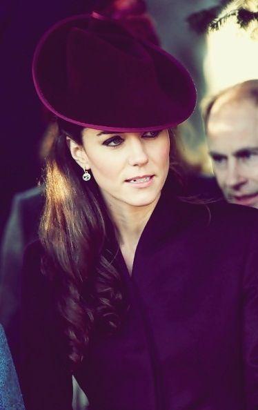 Kate Middleton in deep purple.