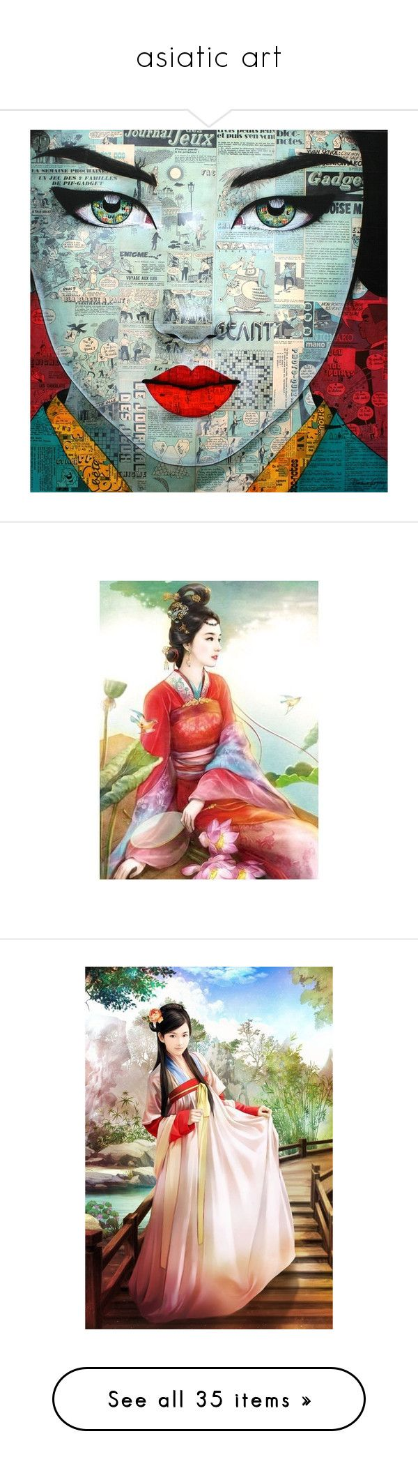 """asiatic art"" by anoo17k ❤ liked on Polyvore featuring backgrounds, art, faces, oriental, people, home, home decor, wall art, asian and figures"