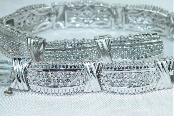 Diamond Sterling Tennis Style X-link Bracelet. Substantial