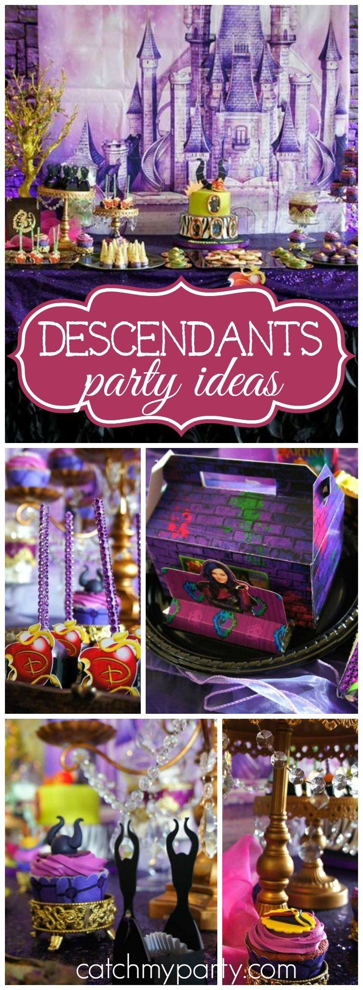 Such a gorgeous Disney Descendants girl birthday party! See more party ideas at Catchmyparty.com!