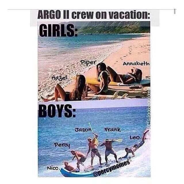 Girls vs boys for vacation Lol. I can see this very well XD