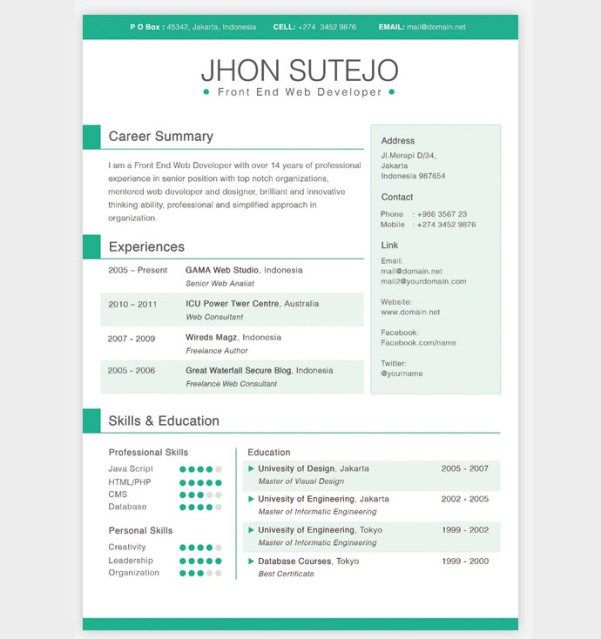 20 best Resume Inspiration images on Pinterest Design resume - single page resume format download