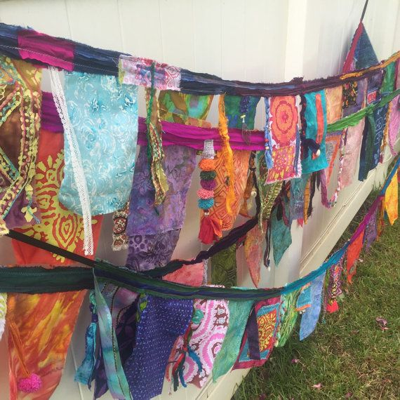 Batik and Sari Bohemian Garland Prayer Flags Made to Order Bunting!