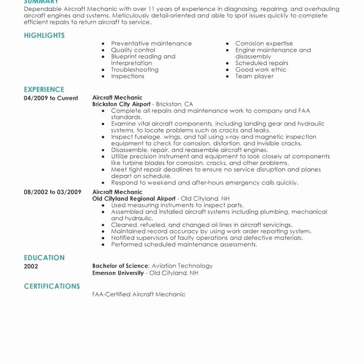 Luxury aircraft mechanic resume cover letter objective