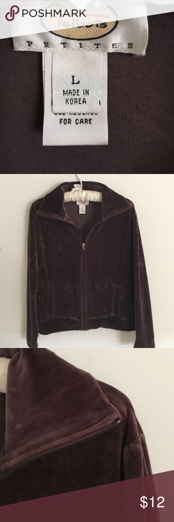 Talbots -petite:  Chocolate brown velvet zip-up! Talbots -petite:  Soft and warm, this jacket is made with the quality that only Talbots can do.  Wear this great jacket for workouts or everyday wear, you simply can't go wrong! Talbots  Jackets & Coats