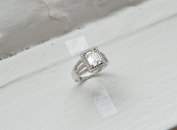 Emerald Cut Engagement Ring Prong Set Engagement by barargent