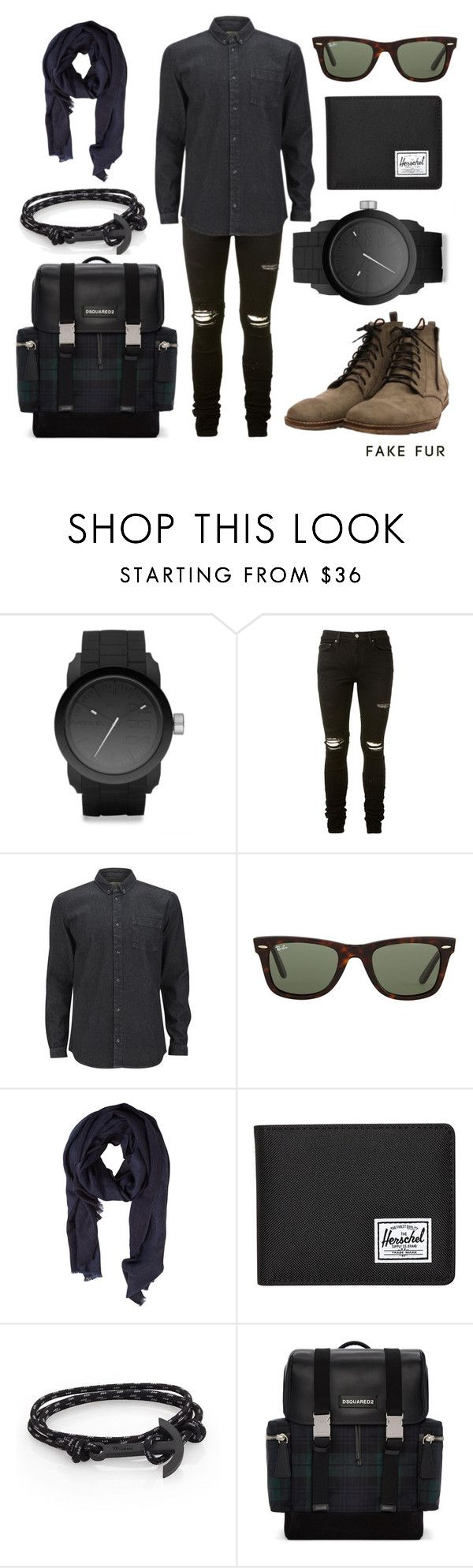 """""""HAAST"""" by fakefur ❤ liked on Polyvore featuring Diesel, AMIRI, SUIT, Ray-Ban, MANGO, Herschel Supply Co., MIANSAI, Dsquared2, men's fashion and menswear"""