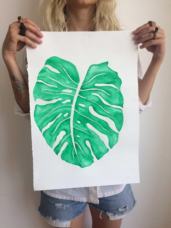 Original Monstera Leaf Watercolor Painting   Home decor