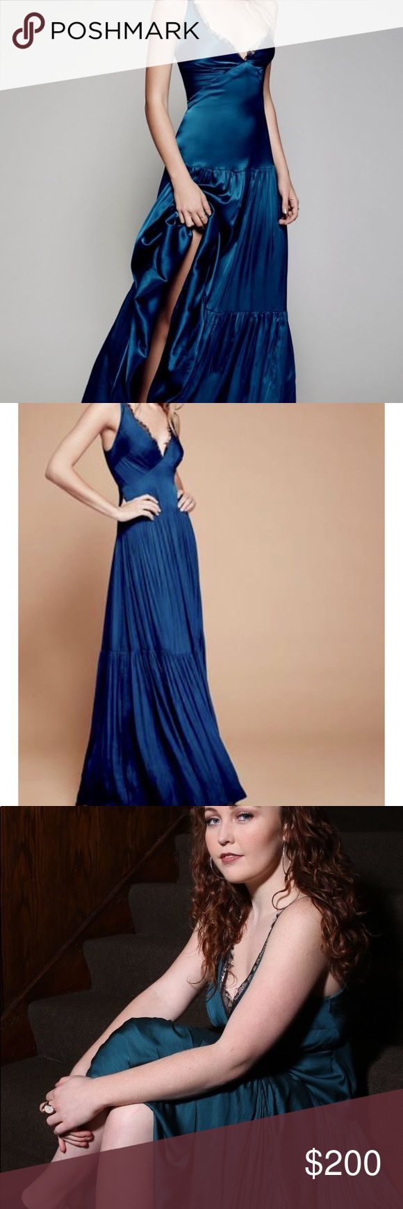 Free people satin turquoise gown This sultry turquoise dress is perfect for any …