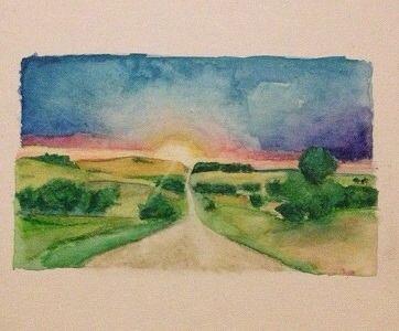 Watercolor/aquarell painting. Landsape. Sunset. Journey. El Camino. Hiking. Nature. Facebook page: Mirjam's Art