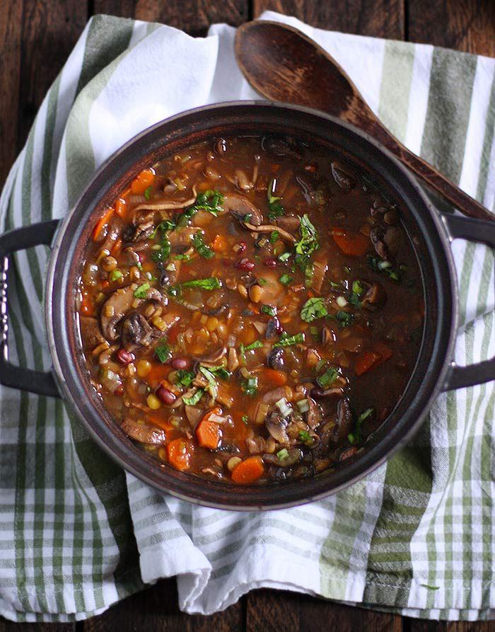 Mushroom Lentil Adzuki Bean Soup | SoupAddict.com - clean and healthy, this rich, earthy soup has mushrooms, green lentils, and adzuki beans.