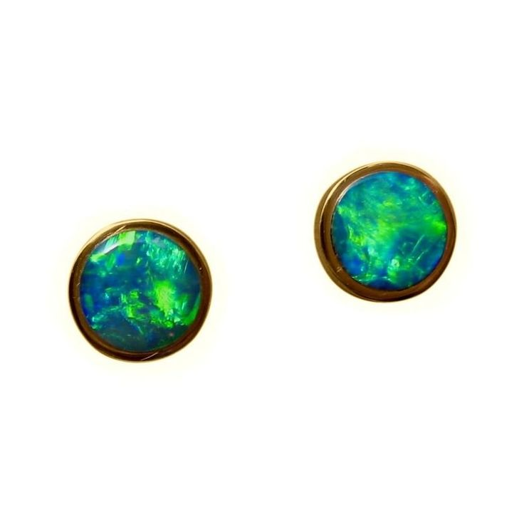 Opal Stud Earrings in 14k Gold 8.5 mm round with very bright Green and Blue