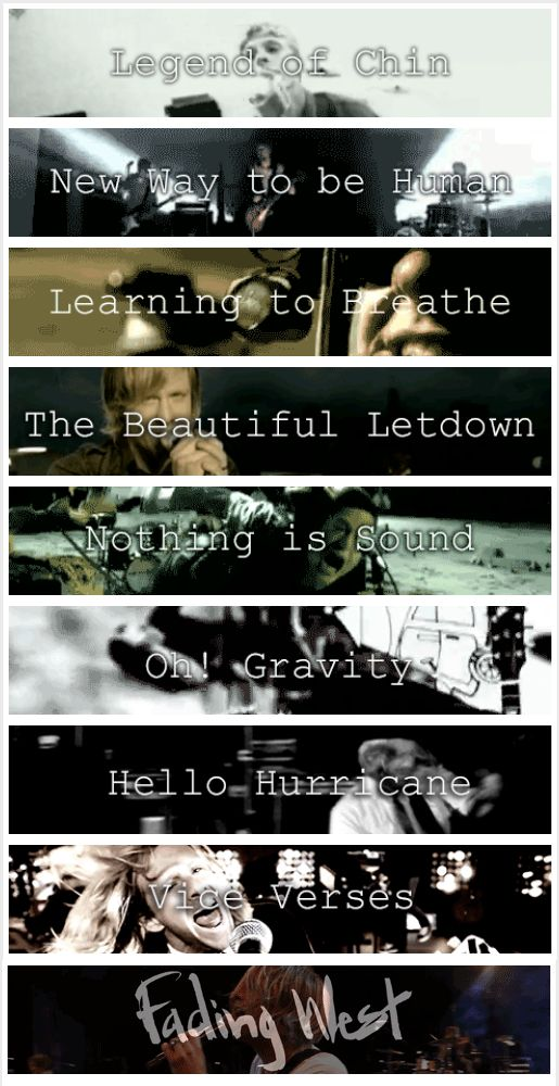 Switchfoot albums / Legend of Chin / New Way to be Human / Learning to Breathe / The Beautiful Letdown / Nothing is Sound / Oh! Gravity / Hello Hurricane / Vice Verses / Fading West / What is your favorite Switchfoot record?