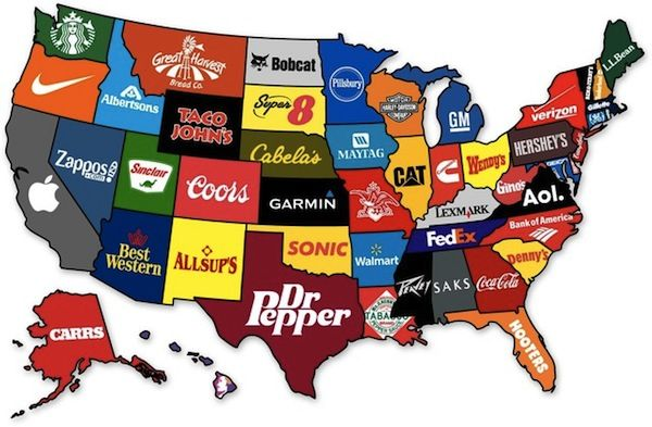 Map Shows The Most Famous Brand From Each State Of The US - DesignTAXI.com