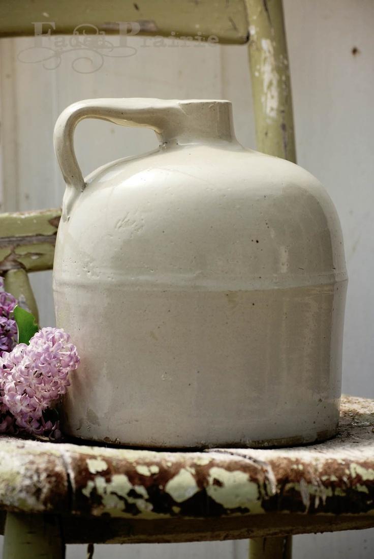 Old white crock jug