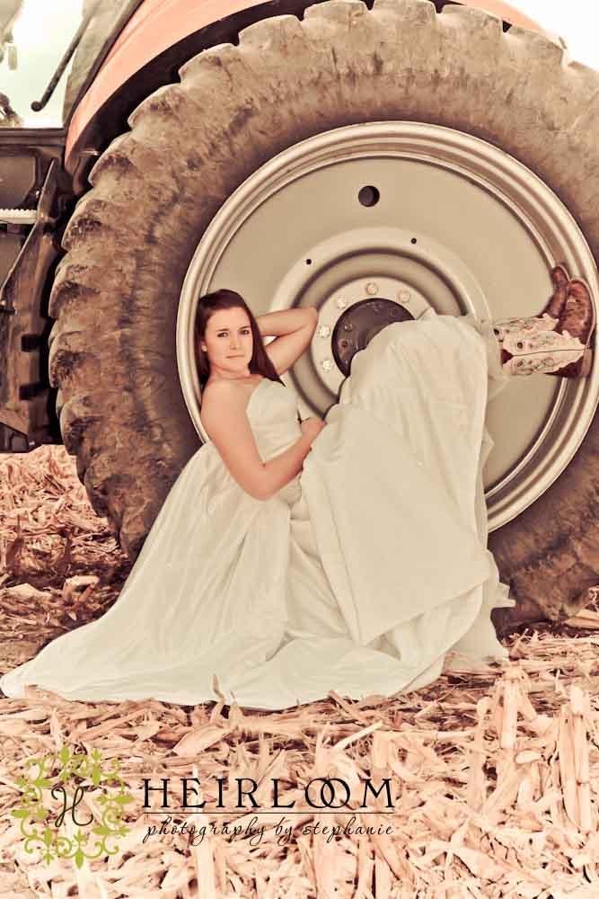 Bride in tractor wheel!