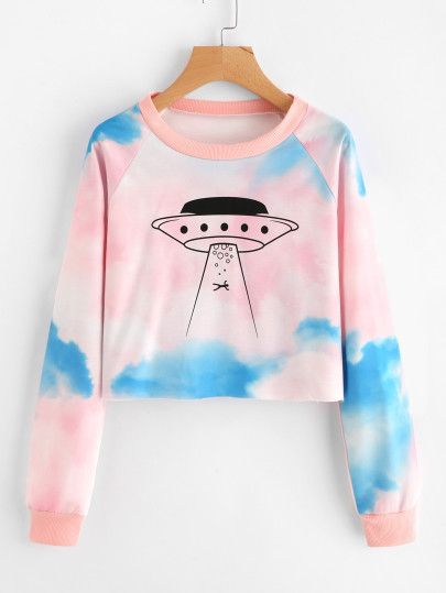 Graphic Print Water Color Sweatshirt