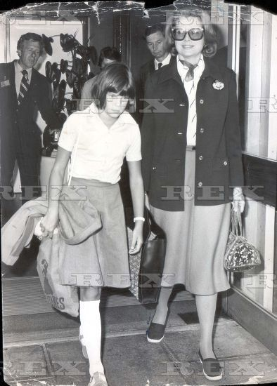 Former Film Actress Princess Grace Of Monaco (grace Kelly) And Her Youngest Daughter Princess Stephanie Of Monaco Aged 10 At London's Heathrow Airport En Route For A Private Visit To Philadelphia U.s.a. 14 Aug 1975