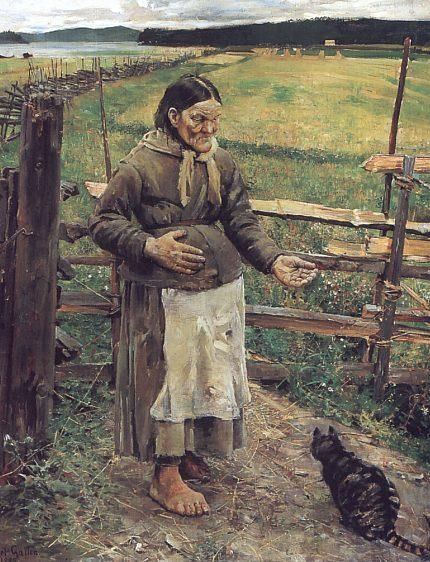 Old Woman With a Cat, Oil by Akseli Gallen Kallela (1865-1931, Finland)