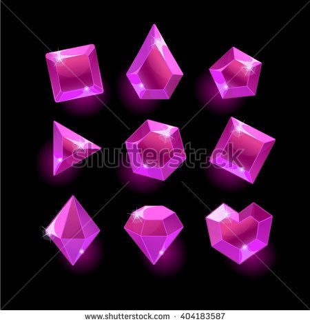 Set of cartoon purple,pink different shapes crystal,gemstones,gems,diamonds vector gui assets collection for game design.isolated vector elements.Gui elements,vector games assets.menu for mobile games - stock vector