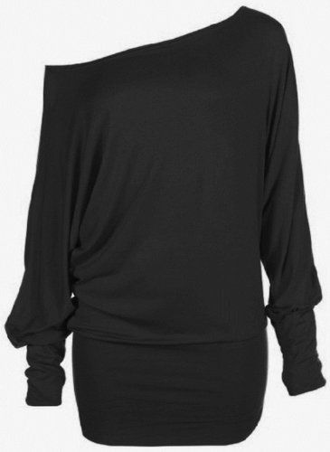 Funky Boutique Womens PLUS SIZE Batwing Top Plain Long Sleeve Off Shoulder Big Size Tshirt Top 16-26