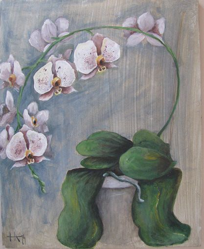Hope. Acrylic painting of an orchid.