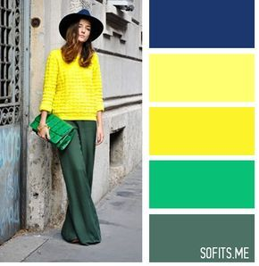 Цвета из близких сегментов цветового колеса: зеленый, переходящий в желтый. Выглядит и контрастно, и гармонично.