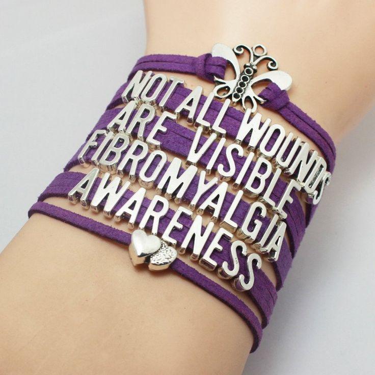 Purple Ribbon Fibromyalgia Awareness Bracelet