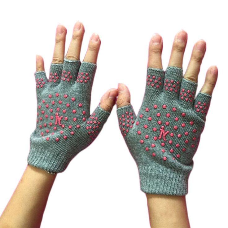 Functional Fingerless Gloves For Yoga/Running/Driving, Yoga Gloves, Gray