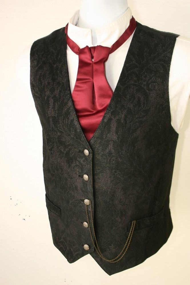 Wilsons Black Leather Paisley Filagree Vest Cowboy Steampunk (Mens 40) SASS 2884 #WilsonsLeather #Vest