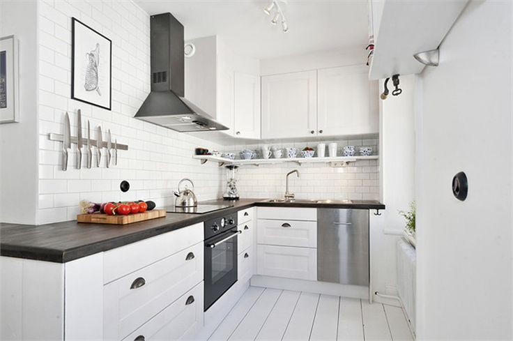 desire to inspire - desiretoinspire.net - Reader's home - Dan's apartment for sale: Smart Kitchens, Apartment Kitchens, Dan Apartment, Small Kitchens, Stockholm Apartment, Wood Countertops, White Tile Kitchens, Modern White Kitchens, Beautiful Stockholm