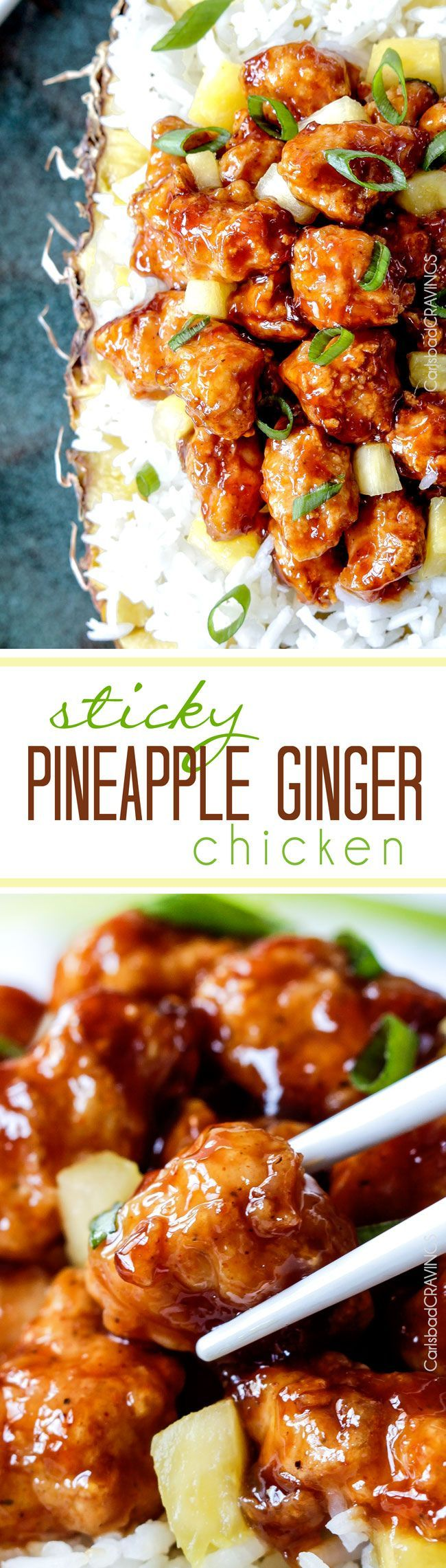 Baked Pineapple Ginger Chicken - Smothered in the most crazy delicious sweet pineapple sauce with a ginger Sriracha kick that is WAY better than takeout.