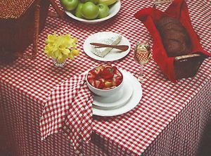 Hobnail Terry Checked Tablecloth   Blue, Yellow, Red   Various Sizes