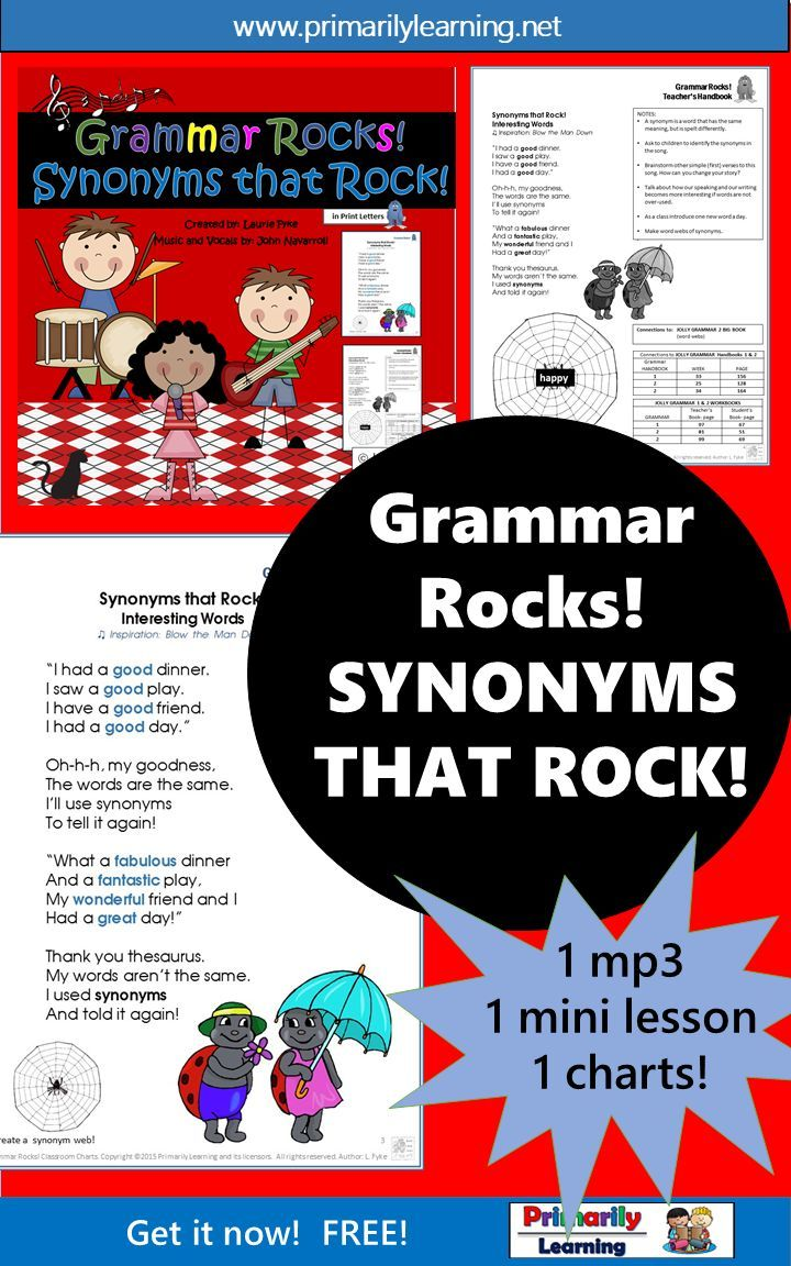 #FREE!  #grammar made easy! #gradeone and #gradetwo... Sing along to the garage-band beat with John Navarroli, and learn about #synonyms! An mp3, classroom chart, and teacher reference are included.  What a fun way to learn! Check it out here!  (available in Print Letters or #Sassoon Font)