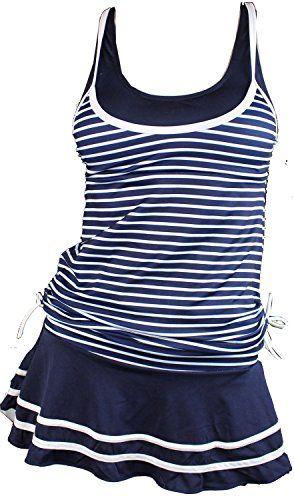 MiYang Women's Tankini Striped Vintage Swim Dress (Deep B...